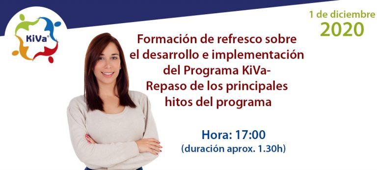 Evento online: Formación de refresco sobre el desarrollo e implementación del Programa KiVa - Repaso de los principales hitos del programa